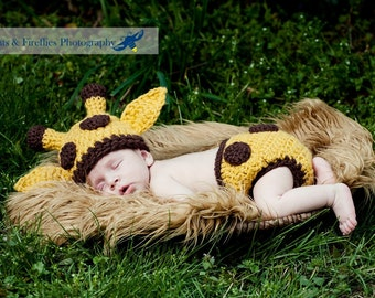 Baby Giraffe Hat and Diaper Cover Matching Set--Perfect Crochet Newborn Photo Prop  or Halloween Costume