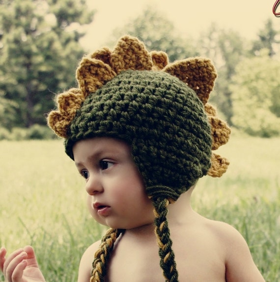 Dinosaur Crochet Hat--Baby or Kids sizes--Perfect Halloween Costume orPhoto Prop--4 different sizes
