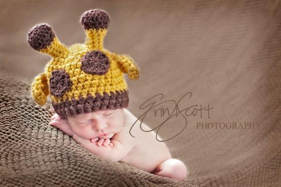 Baby Giraffe Hat Crochet Perfect Newborn Photo Prop Halloween Costume