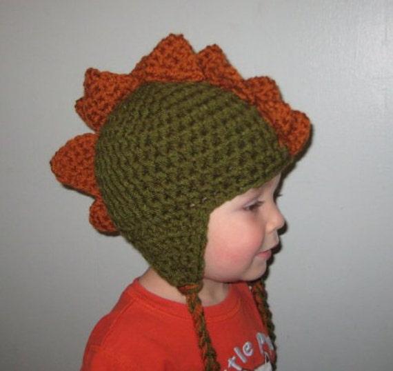 Toddler Dinosaur Hat Green and Orange-Great Halloween Costume