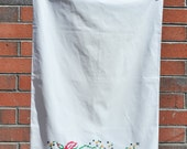 Vintage Hand Embroidered Floral Pillowcase