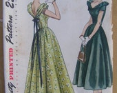 A Night on the Town, 1949 Simplicity 2864 Evening or Party Dress Sewing Pattern, 2 Lengths, Uncut, Size 14, Bust 32