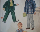 Now on Sale, Little Man, 1949 Boys' Suit with Suspenders, Size 4