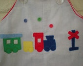 Little Conductor, Vintage Baby Boy Train Romper and Hat, 3-6 Months