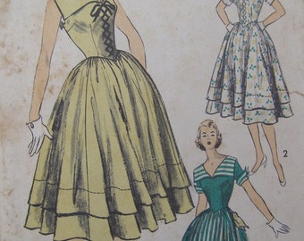Now on Sale, Swiss Miss, 1940s Advance Lace Front Bodice Dress Sewing Pattern 5758, Size 10, Bust 28, Uncut