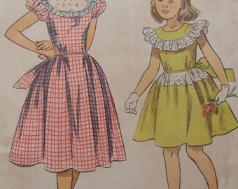 Now on Sale, 1949 Simplicity Girl's Rockabilly Style Dress Sewing Pattern 2820, Size 8, Uncut