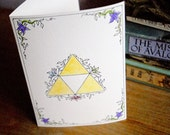 Valentine Sale Hand Drawn Valentine Card - TRIFORCE - Ink and Watercolor