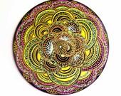 Hand Painted Victrola Record Mandala