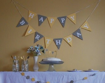 Birthday Banner Party Package, gray and yellow, customize your own