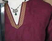 Historical Viking, Medieval linen tunic with Celtic knot trim size 5XL
