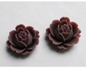 2pc 22mm Rose Rein Cabochon Flower Dark Amethyst