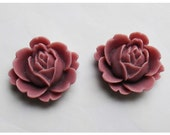 2pc 22mm Rose Rein Cabochon Flower Orchid