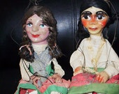 Price Reduced. Mexican Marionettes.  2 Vintage Marionettes with Composition Heads.  Hecho En Mexico Marionettes.