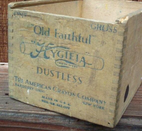 Vintage Wood Box.  Crayon Wood Box.  American Crayon Box.  Old Faithful Hygieia Dustless Chalk/Crayon Wood Box.  Made in USA