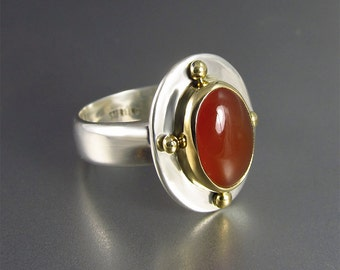 Carnelian Ring in 18kt Gold and Sterling Silver