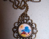Sunflower Woman with blue hat Pendant necklace