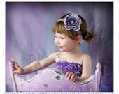 Purple and Lavender Glitter Flower Rhinestone Embellishment Headband  Rhinestone Preemie Newborn Infant Toddler Big Girl Headband Photo Prop