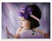 Purple & Pink Feather Pad Rhinestone Pink Crystal Headband Newborn Infant Toddler Big Girl Purple HeadbandPhotography Prop