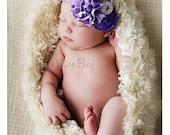 Purple and Lavender Duponi Silk Rolled Rosette & Satin Flower Rhinestone Headband Preemie Infant Toddler Big Girl Lilac Headband Photo Prop