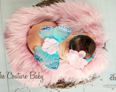 Cotton Candy Sweet Pink and Bright Blue Sequin Butterfly Wings Beautiful Photo Prop