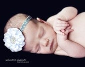 White Vintage Couture Satin Poof cluster with large Vintage Rhinestones and Pearl Glitter Headband Photography Prop