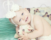 Ivory Cream or Pink Vintage Couture RoseChiffon Luxe Bow  with large Vintage Rhinestones and Pearl Cluster Headband Photography Prop