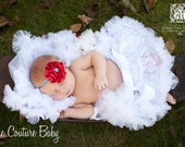 White Lace Vintage Couture Newborn Infant Pettiskirt Photography Prop & Headband