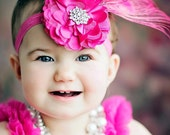Hot Pink Fuchsia Peacock Feather Tulle Satin Flower Rhinestone  Preemie Newborn Infant Toddler Big Girl Headband