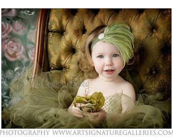 Gorgeous Vintage Kiwi Green Feather Pad with Pearl Embellishment photography prop Newborn Infant Toddler