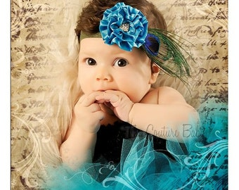 Peacock Couture Teal Feather Satin Puff Rhinestone Accent Headband Infant Toddler Newborn Photography Prop Headband