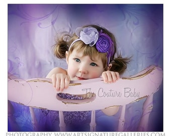 Purple Shabby Chic Dupioni Silk Rolled Rosette Organza Pearl Flower Feather Headband Preemie Newborn Infant Toddler Child Adult