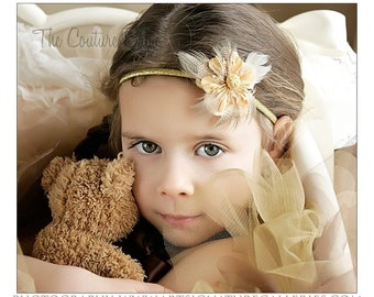 Gold Flower and Ostrich Feather Luxury Couture Headband Preemie Infant Newborn Toddler Child photography prop