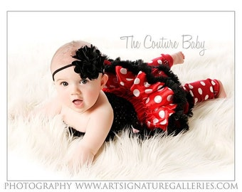 Minnie Mouse Red and White Polka Dot Petti Skirt Top Headband Legwarmers Set Photo Prop 4 Pc. Set Infant Toddler Couture