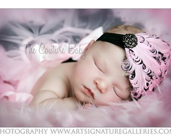 Pink and Black Berry Couture Rhinestone Feather Headband Newn=born Infant Toddler Child Adult Headband Photography Prop