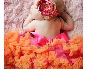 Hot Pink and Orange Newborn Infant Pettiskirt & Ranunculus Headband Photography Prop