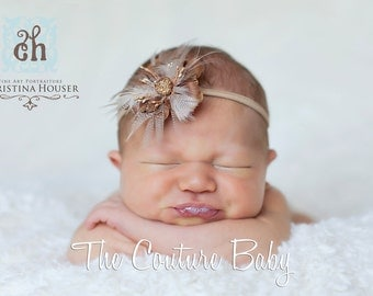 Taupe Tan Brown Coffee Ostrich Feather Luxury Couture Headband Infant newborn toddler photography prop