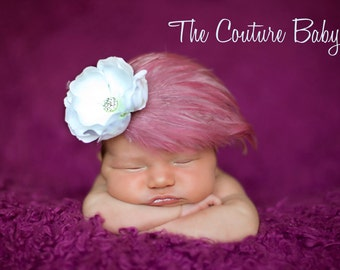 Rose Pink and Feather Pad Headband accented with Rhinestone ClusterHeadband Newborn Infant Toddler Big Girl