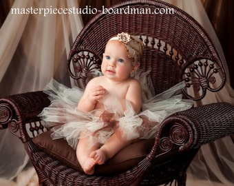 Ivory and Brown Vintage Couture Flower Headband & Brown and Ivory Tutu 2 Pc Set Newborn Infant TodderPhotography Prop