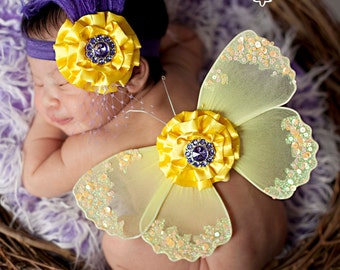 Yellow Sequin Vintage Purple Crystal Preemie Infant Butterfly Wings & Headband 2 Pc Set Beautiful Photo Prop