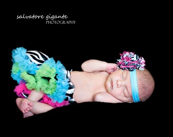 Rainbow Couture Zebra Newborn Infant Pettiskirt  with Matching Headband Photography Prop
