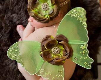 Moss Green Gold and Brown Sequin Vintage Preemie Newborn Infant Butterfly Wings  & Headband Set Beautiful Photo Prop First Christmas Photos
