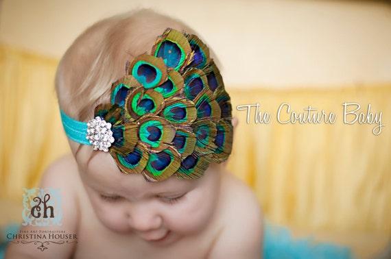 Blue Peacock Eyes Feather Pad & Vintage Crystal Headband Preemie Newborn Infant Toddler Child Adult Headband Photo Prop