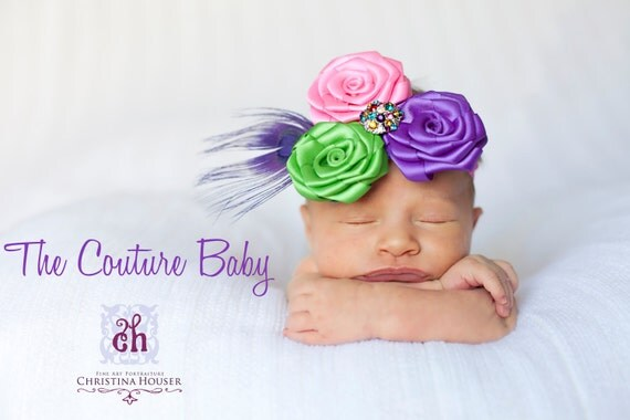 Bright Purple Hot pink and Lime Rosette Flower Headband Accented w Rhinestones and Peacock Feather