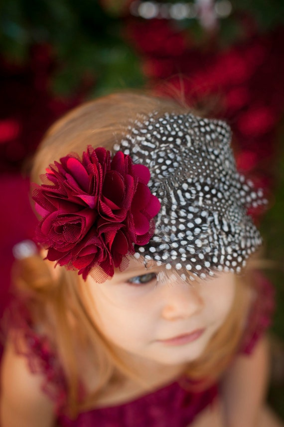 Burgundy Satin Tulle Flower with Black and White Dot Feather Pad Headband Newborn Infant Toddler Big Girl Headband PETTI Romper