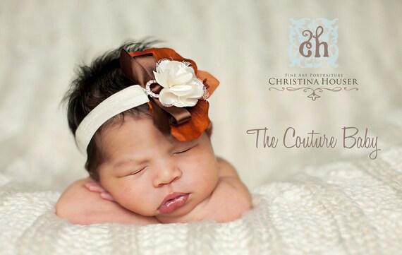Autumn Brown Ivory Rust Fall Flower Jeweled Headband  Preemie Newborn Infant Toddler Big Girl Thanksgiving Headband