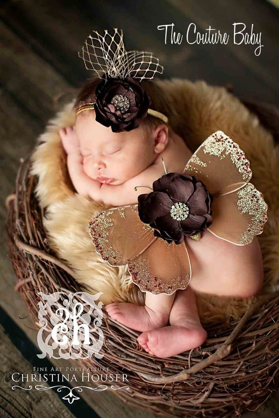 GOLD DELUXE Sequin Butterfly Wings & Headband Set  Beautiful Photo Prop