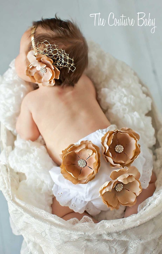 Gold and Crystal VINTAGE  Elegant Bloomers AND Flower Headband Accented w French Veiling Netting Newborn Infant Toddler Photo Prop 2 Pc.Set