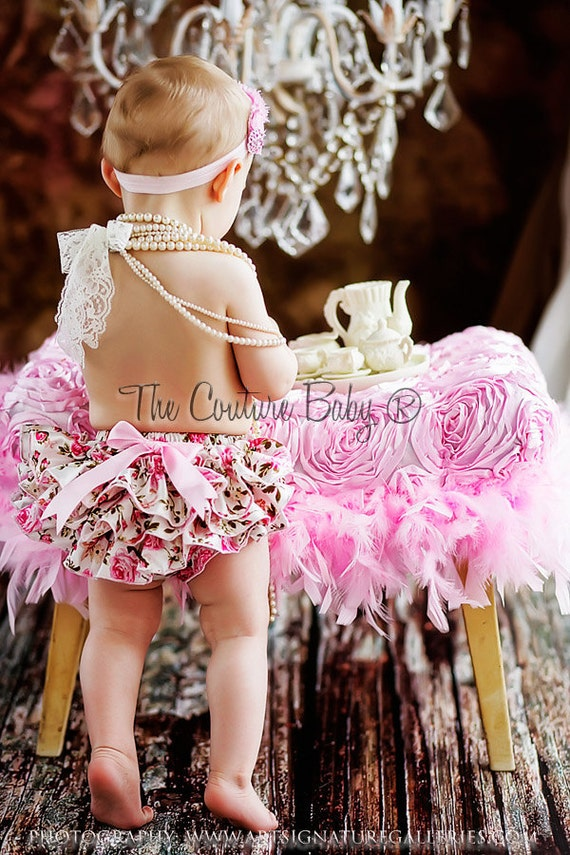 VINTAGE ROSE Pink Satin Bloomer  & Rose Headband 2 Pc Newborn Infant 2 Pc Set Shabby Rose Shabby Chic Pink Set