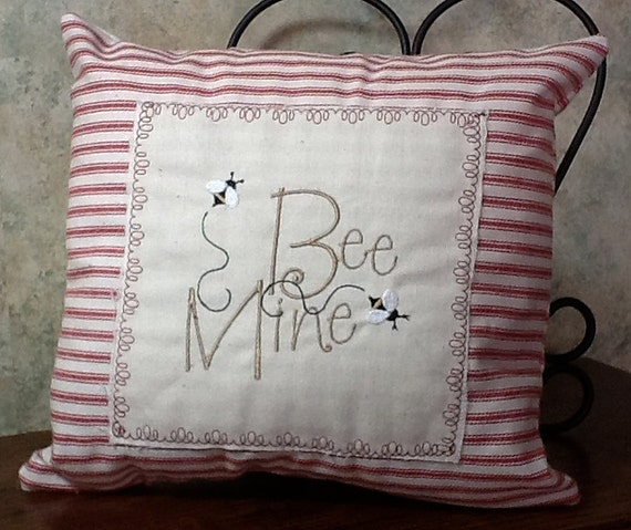 Embroidered Bee Mine Valentine decorator throw pillow