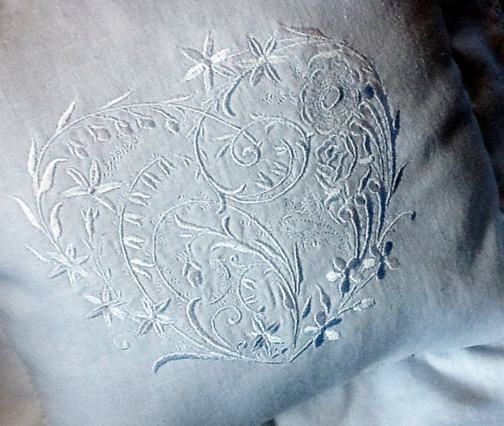 White on white Victorian style embroidered heart decorator throw accent pillow